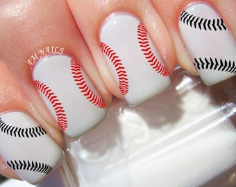 Baseball Stitches Nail Decals