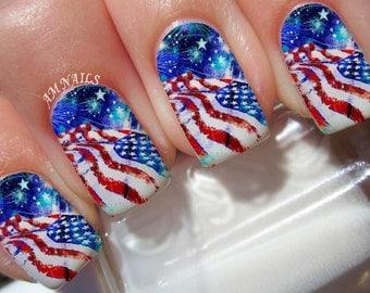 American flag art etsy american flag nail decals prinsesfo Gallery