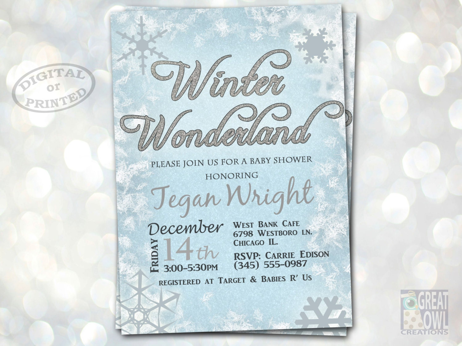 winter wonderland baby shower invitations by greatowlcreations