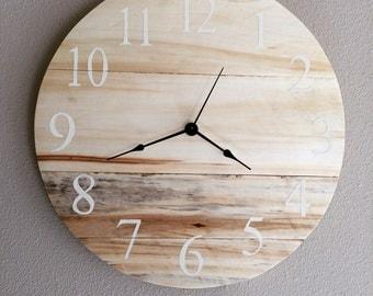 "Modern Rustic Clock with Pallet Wood - 16"" - Sample - Similar clock made upon order"