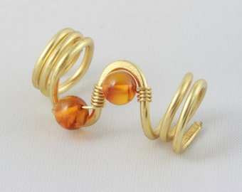 Dreadlocks Brass Wire Dread Bead Amber Hairjewellery Dreadjewellery