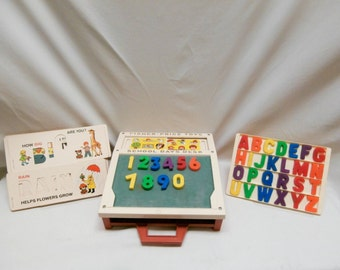 Vintage Fisher Price School Days Desk #176 Dated 1972 complete with all letters, numbers and stencil