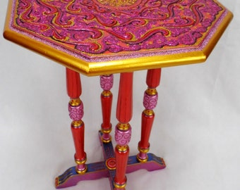 OCTAGON PLANT STAND Vintage Hand Painted 4 legged Ornate in Iridescent Pinks, Golds, Reds and Purple