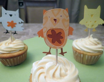 Owl Party Cupcake Toppers Set of 12