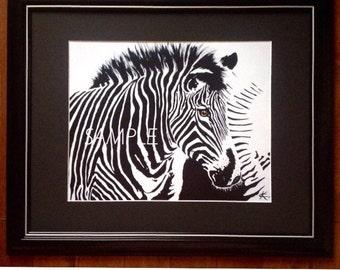 Zebra. Print of original Black and White painting.