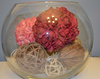 Big clear Glass Bowl w/ wood balls, nuts, flowers, pink, red, rose, faux/fake, decor, centerpiece, table, coconut, tan, brown, Rattan Balls