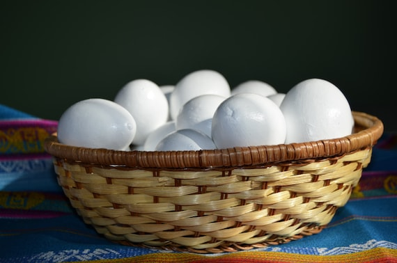Basket Of Eggs Painted Dried Gourds White Eggs Faux Fake