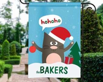 Ho Ho Ho Silly Christmas Cat Personalized Holiday Winter Garden Flag Yard Sign Banner Decor Decoration Personalize with your Family Name