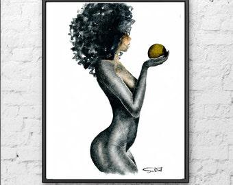 African Black woman art, Naked black woman, Female figurative nude art, Figurative painting, Watercolor,