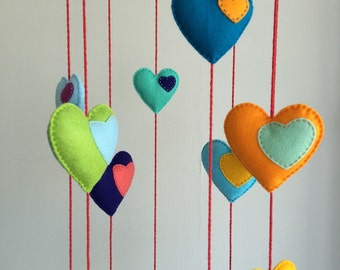 Rainbow Felt Heart Mobile Handmade