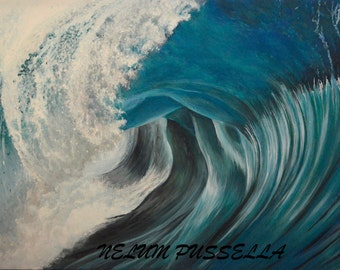 "Blue Wave-ORIGINAL Acrylic Painting on Canvas- 24""x36""x1.5"""