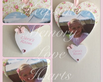 Bedroom door sign wooden keepsake heart