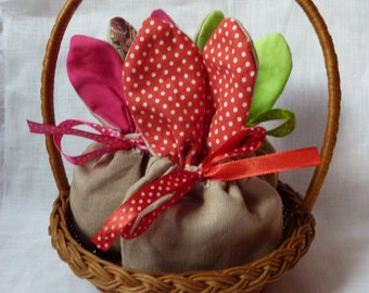 3x Easter bunny treat and candy bags, brown bag with red or green ears, can be used as party gift or favor bag