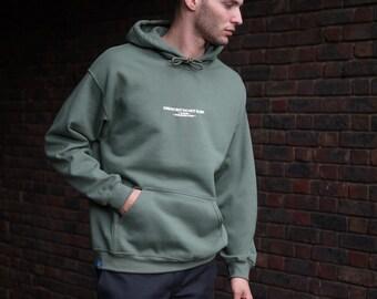 UK Born Worldwide Worn Military Green Cotton Hoodie
