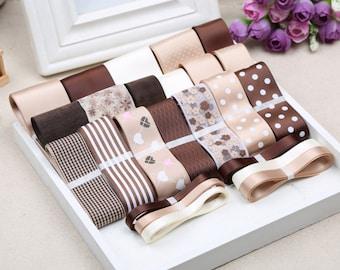 24M Coffee Ribbon Set,Satin Grosgrain Cotton Lace,DIY Hair Bow Ribbon Set,Ribbon and Trim,DIY Hair Accessories Material Set