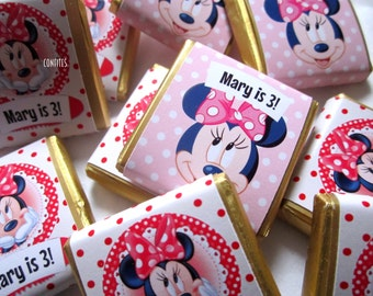 Personalised Chocolates Minnie Mouse party favour birthday favour party favour Candy Bar Kids children