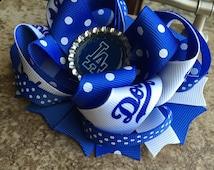 Dodgers hair bow, Dodgers bow, Dodgers, LA dodgers, hair bow, baseball, baseball hair bow, girly bows, LA bow, cute bows, girly hair bows