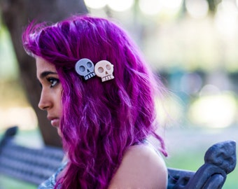 Cute skulls hair clip