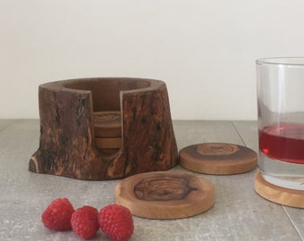 Olive Wood Coasters, Glass Coasters, Rustic Coasters, Gift, Natural Kitchen, Set of Coasters, Wooden Coasters, Coasters with Pot