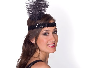 1920's Flapper Style Black or Silver Sequin and Feather Headpiece - Style 4358