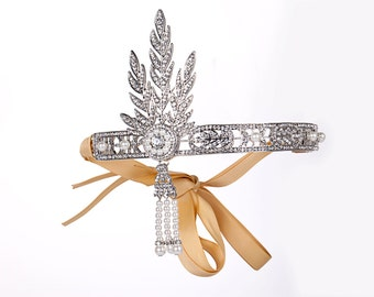 1920's Deco Era Great Gatsby Inspired Flapper Rhinestone Headband Tiara - Style 4400S