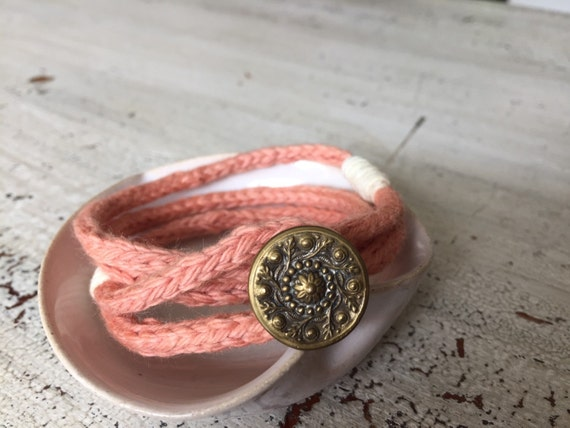 Knit Wrap Bracelet , Boho Wrap Bracelet, Knit Jewelry, Hand Dyed Bracelet, Antique Button Bracelet