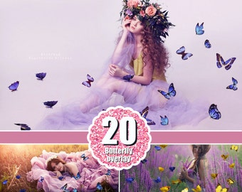 20 Butterfly  Photo Overlays, Photography Overlays for Photoshop, Photography Textures,  Flying butterfly layer, png file