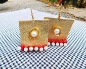 Handmade Golden Leather Earrings with Wooden Beads and Pearls