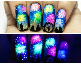 Fireworks ⎮ Glow in the Dark Freehand Nail Art. Handmade Fake Nails, False Nails, Press On Nails, Micropainting On Nails