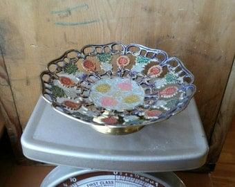 Vintage Decorative Brass Bowl/ Enameled Brass Bowl/ Small Brass Bowl/ Vintage Brass Decor/ Painted Brass Dish/ Brass Trinket Dish/ Brass