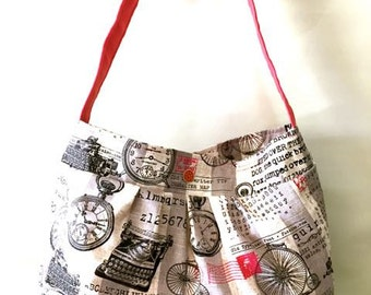 Penny Farthing Tote/Hobo Fabric and Canvas Bag. Handmade by Orange bicycle designs.