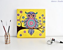 Dot Painted Owl with acrylics on canvas/Original acrylic painting/Painting for kids' room/Dot painting