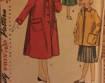 "VTG 4418 Simplicity (1953) girl's coat in 2 lengths.  Girl's Size 8, Breast 26"".  Complete, unused, FF. Excellent condition."