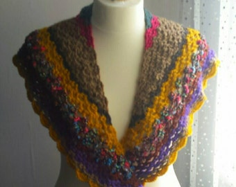 Stunning shawlette - multicoloured shawlette - scarf - wrap - cosy wrap - different colours