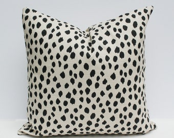 Spotted Animal Print Pillow Cover - Tan/Beige and Black