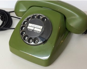 FREE-SHIPPING Vintage Dutch rotary telephone 1970s green color , Dutch POST FeTAp 611-2 a  DeTeWe
