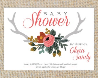 PRINTABLE -- Baby Shower Woods/Floral Invite