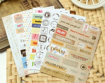 6 sheets of stickers texts / dots / postage stamps / writing