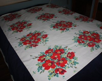 Vintage Red floral tablecloth
