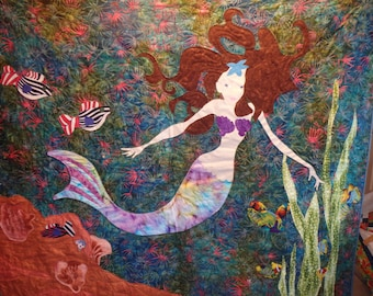 mermaid quilt, nautical decor, seascape.  fiber art, quilted wall hanging, girl's gift, blue quilt, wall quilt, art quilt