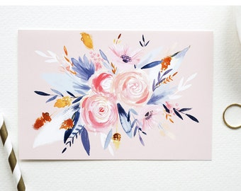 Navy & Peach Floral Card 1 pc