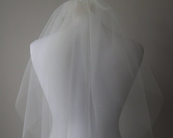Two Tier Elbow length wedding veil - Ivory