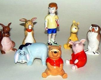 Winnie the Pooh Figurines, Vintage Classic Pooh, set of eight, Beswick, England, Walt Disney