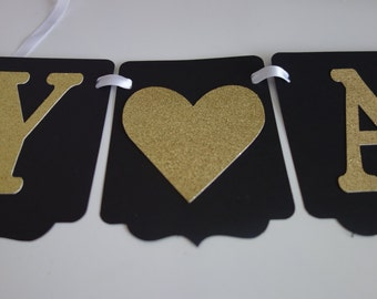 Black and Gold Anniversary Banner/ Anniversary Banner/ Golden Anniversary Banner/ Wedding Banner/ Bridal Shower banner/ Customized banner