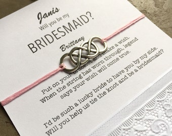 Will you be my Bridesmaid gift, Personalized wedding favors, wish bracelet, gift card, Personalized bridesmaid gift, Bridesmaid proposal, B3