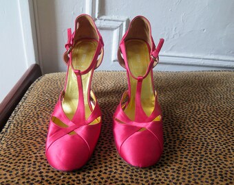 Mary Jane Shoes Miu Miu Prada Pumps Stacked Heel Red Satin Shoes Size 39