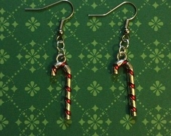 Matching earrings for Christmas: candy cane - silberfarbend