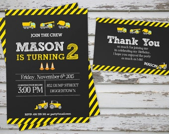 Construction Truck Party Invitation Printable