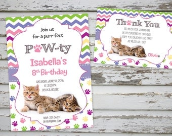 Kittens Birthday Invitation Cat Birthday Invitation Kitten Party Cute Kittens with FREE Thank You card