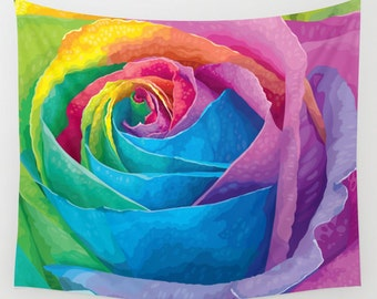 Wall Tapestry. Rose Tapestries. Flowers Wall Tapestry. Blossoms. Nature Tapestry. Colorful Tapestries. Watercolor Tapestries. Painted Mural